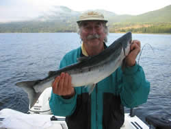 Sockeye fishing in the Alberni Inlet is fun and very exciting.  It is very much a full family fishing opportunity as those young and hold have a great opportunity of landing a salmon. Jack of Ontario shows off his first ever caught Sockeye Salmon.   Jack fished with Doug of Slivers Charters Salmon Sport fishing.   jack and good friend Ross limited on Sockeye in the China Creek area of The Alberni Inlet in the summer of 2010.  Fishing in 2011 is forecast to exceed 2010.