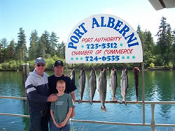 We are expecting the fishing days in the summer of 2010 to be just as good as 2009.  In this picture three generations are shown.  Father, Tom with son Tom and grandson.  The trio fished in August with guide Doug of Slivers Charters Salmon sport Fishing