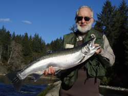 This fellow not wanting to be named on the Internet was guided by Kevin on a beautiful February day on the Stamp River near Port Alberni located on Vancouver Island B.C.  Fishing for Winter Steelhead has been good for the guides and guests and should continue through March.