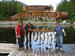 Jim, Scott and Andrew from B.C. and Manitoba show off their catch after a day of fishing recently with guide Doug of Slivers Charters Salmon Sport Fishing.  These fishermen were guests of Doug and were accommodated at Eagle Nook in Barkley Sound.  Most of the salmon were caught from Cree Island all the way to Pill Point located in Barkley Sound Vancouver Island B.C.