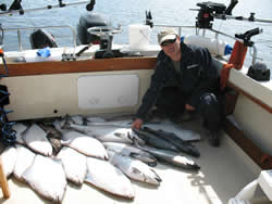 This is YuePeng from Ontario showing catch that he and four friends were thrilled with after a day of fishing the surfline and offshore from Ucluelet and Barkley Sound.  YuePeng was so delighted with his trip he has organized three days for the 2010 year with Slivers Charters Salmon Sport Fishing.