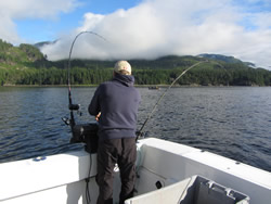 The fishing on the Port Alberni Inlet is often perfect with calm water and beautiful scenery