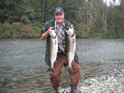When the water levels are right it is easy to walk many areas of the Stamp.  This angler had some great days fishing for Coho in October and November and was often awarded for his perseverence.  Both of these Coho were landed using red wool.