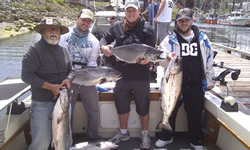 Ryan and friends had a great day with guide Al fishing out of Ucluelet and fished the inner and outer south bank where they limited on Chinook and also landed several Coho and Halibut.  Most of the Chinook were hitting six and seven inch spoons and plugs