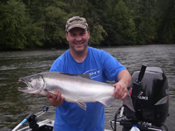 the salmon fishing on the Stamp River has been very good.   New and very bright chrome salmon are entering the system daily just like the open in this picture provided by Slivers Charters Salmon Sport Fishing in Port Alberni