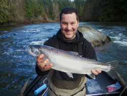 Jay with a wonderful Steelhead landed on Wednesday April 6th in the Stamp River.