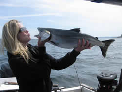 The fishing along the surf line of Barkley Sound located on Vancouver Island has been very good.Julanna shows her Chinook Salmon caught with Swale Rock on a green-nickel coyote spoon