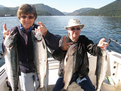 Peggy and Howard enjoyed two days on the water with guide Doug of Slivers Charters Salmon Sport fishing landing sockeye from the Alberni Inlet