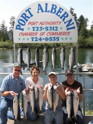 The sockeye fishing in the summer of 2010 is expected to be even better than in 09.  In this picture there are three generations of the Riggs family from Arizona.  the family of four had a spectacular day of sockeye fishing on the Port Alberni Inlet and will be back this summer again.   Guide was Doug Lindores of Slivers Charters Salmon Sport Fishing