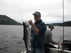 Some Sockeye are big and bright just like this one caught by Mike of Utah.  Mike and his mom and dad limited on Sockeye in July of 2009 with their guide Joedy of Slivers Charters Salmon Sport Fishing.  The sockeye fishing in the Port Alberni Inlet is expected to be very good again in the summer of 2010