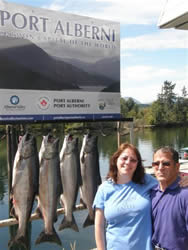 The fishing in the Port Alberni Inlet has improved.  Joseph and Theresa from Portland Oregon fished with Slivers Charters Salmon Sport Fishing and landed their four Chinook using white and Pink hootchies.  The couple was recently married and fished one day during their honeymoon.