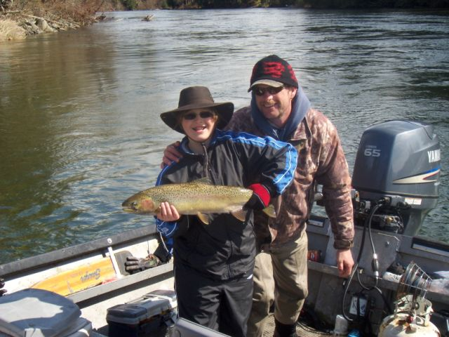 The picture is of guide Rollie with guest Alex and his dad Glen who is not in picture.  This was Alexs' first ever winter steelhead.  Alex is from Saskatchewan The steelhead was picked up on the Stamp River close to Port Alberni B.C