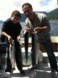 Brent and John landed this Chinook salmon offshore Ucluelet at the inner southbank.  The fish hit a needle fish hootchie in 150 feet of water.  The salmon fishing this summer is expected to be the best in ten years.