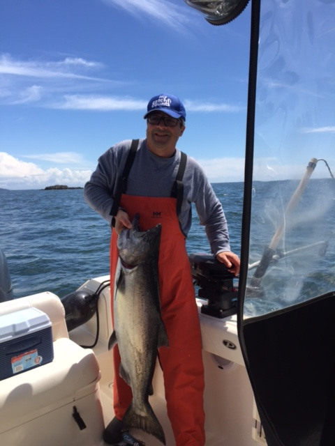 Chris who is from Vancouver landed this 30 pound Chinook close to Meares Island in sunny and science Barkley Sound located on Vancouver Island