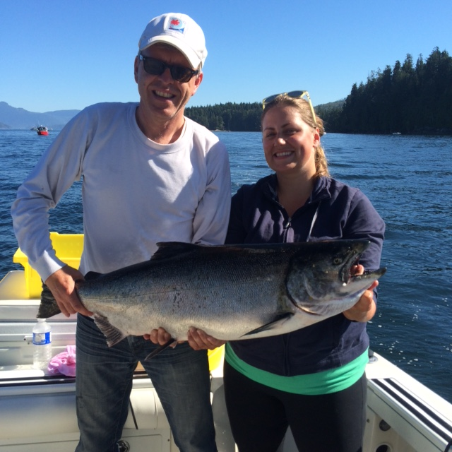 Jessica and Raymond from Victoria B.C. with a beautiful Chinook Salmon landed close to Bamfield.