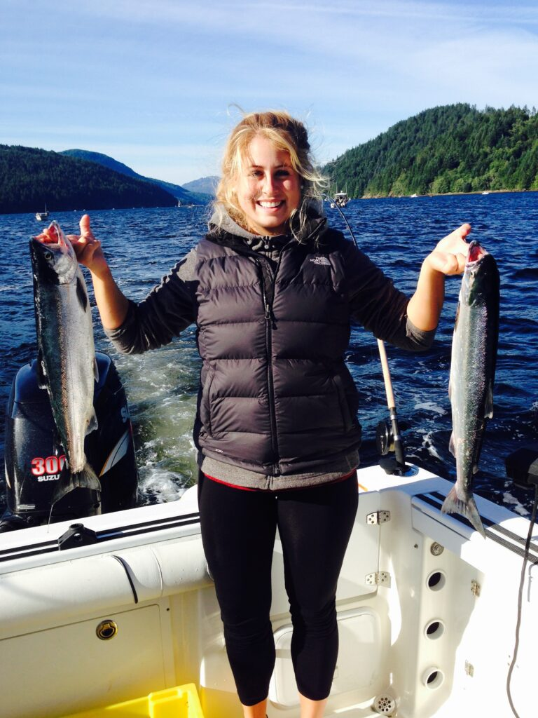Hanna fished with Doug of Slivers Charters Salmon Sport Fishing and landed these two Sockeye in the Alberni Inlet.    Sockeye Fishing opened on July 1st 2020 which came as a great surprise and opportunity for many anglers