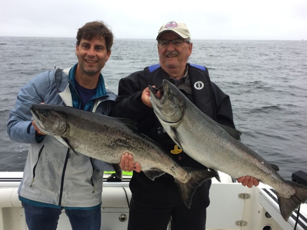 The Bertagnolli's from Duncan B.C. and Toronto Ontario fished with Doug of Slivers Charters Salmon Sport Fishing and landed these two Chinook salmon using Anchovy close to Gilbraltor Island in Barkley Sound